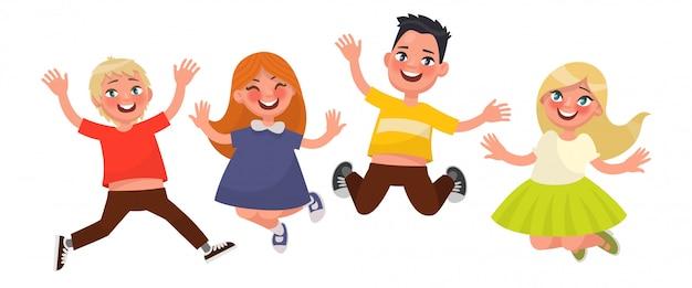 幸せな子供時代。面白い子供たちは白い背景の上にジャンプします。図