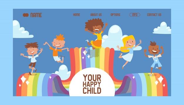 Happy childhood landing page website design