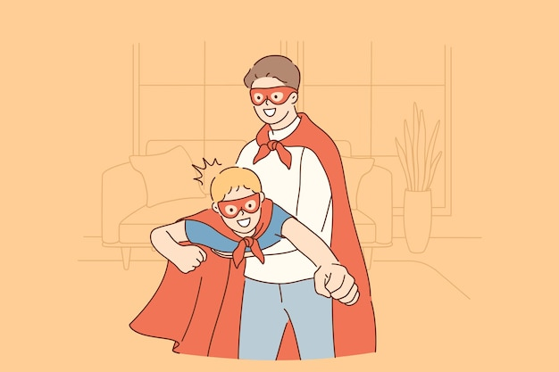 Happy childhood and parenthood, father and son concept