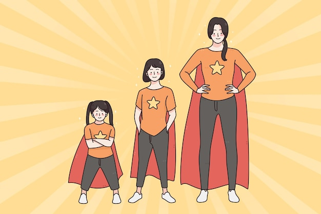 Happy childhood and playing superwoman concept