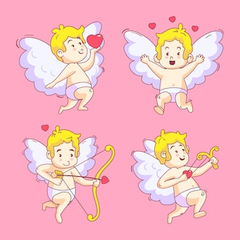 Happy childish cupid angel hand drawn