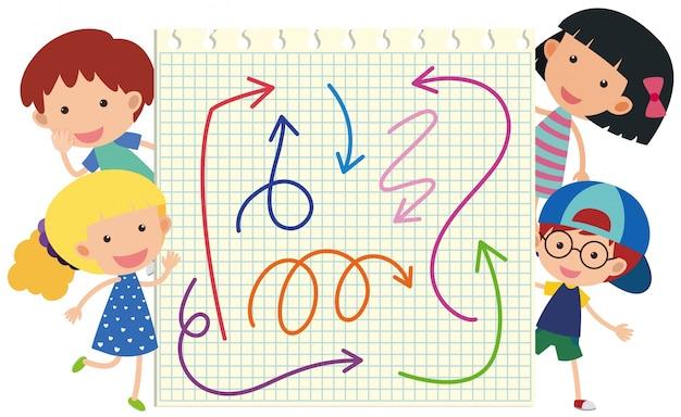 Счастливые дети и разные цвета стрел