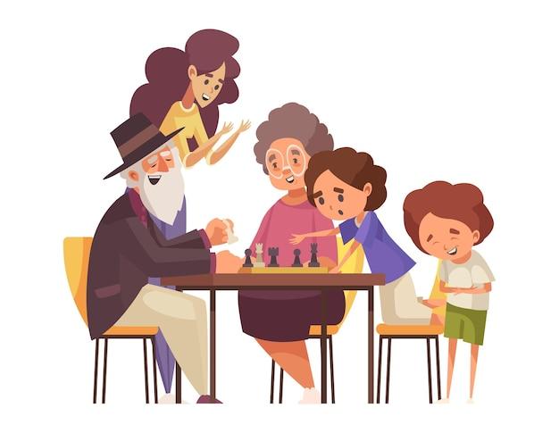 Счастливые дети и бабушки и дедушки играют в шахматы