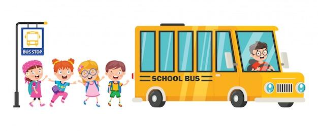 Счастливые дети и школьный автобус