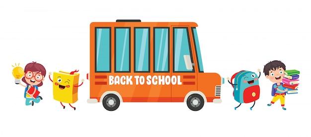 행복한 아이들과 스쿨 버스