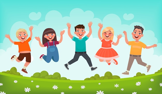 Happy children are jumping. concept of carefree childhood and joy. in cartoon style