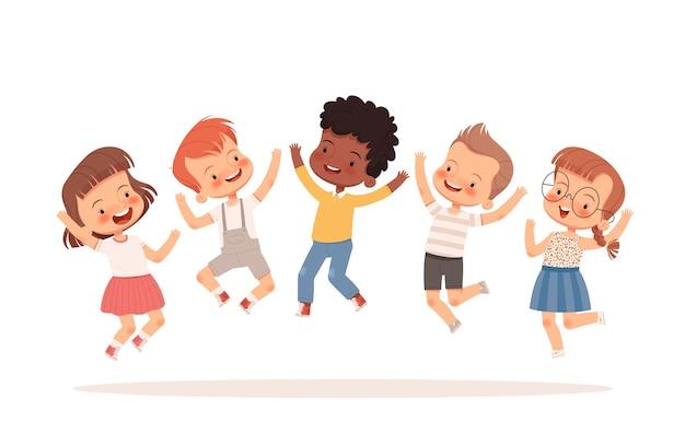 幸せな子供たちはジャンプして、笑って、楽しんでいます。白い背景で隔離。