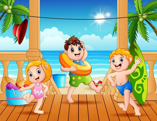 Happy children are playing on the beach
