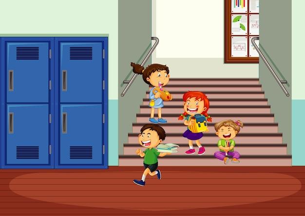 Счастливые дети в школьном коридоре Premium векторы