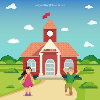 Happy children back to school background