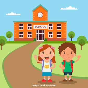 Счастливые дети возвращаются в школу