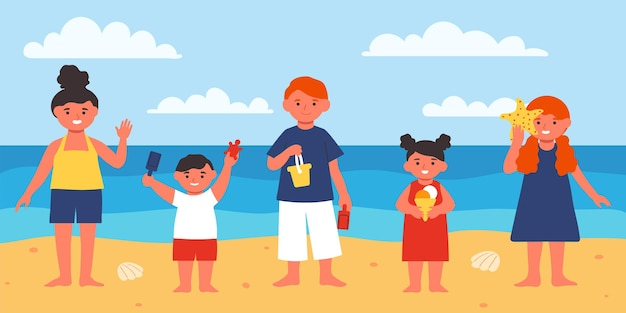 Happy children on the beach. cute characters on vacation. vector illustration in flat style.