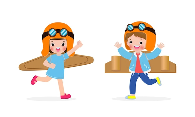 Happy children boy and girl playing toy plane cardboard