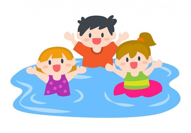 Happy children, boys and girls swimming at beach or pool