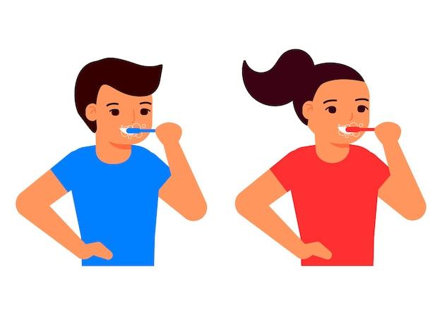 Счастливые дети чистят зубы зубной щеткой. мальчик и девочка заботятся о зубах.