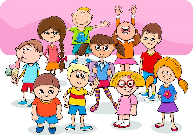 Happy children cartoon characters group