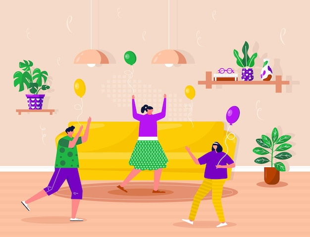 Happy children celebrate birthday on the party. people dancing and listen to music. young boys and girls spending time together, enjoying home entertainment. vector flat interior illustration