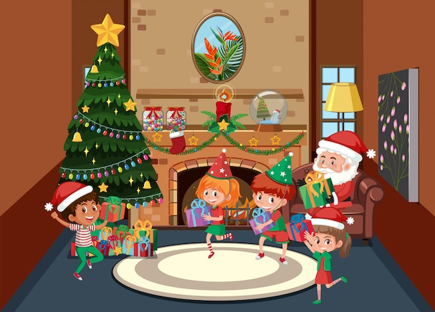 Happy children celebrate christmas
