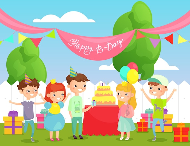Happy children celebrating birthday big cake and lot of presents, decorations in flat cartoon style.