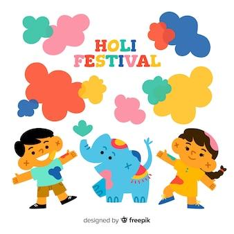 Happy children celebrating holi festival