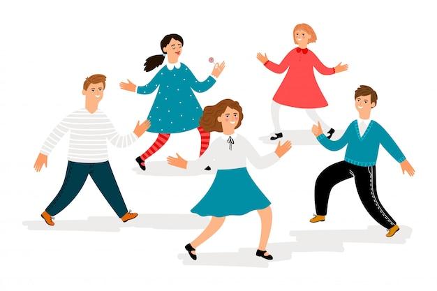 幸せな子供のキャラクター。かわいい学校の子供たちは白い背景で隔離を歩いています。