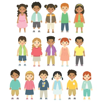 Happy children characters vector collection