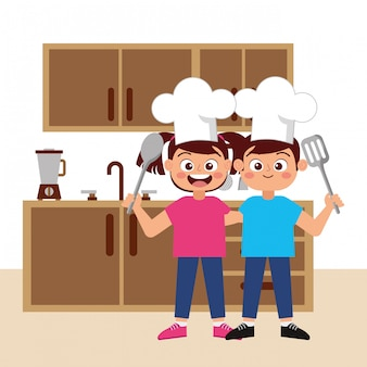Happy children chefs smiling cartoon