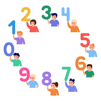 Happy children in circle hold numbers little kids learn number math education