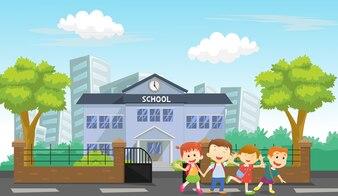 Happy children come home from school