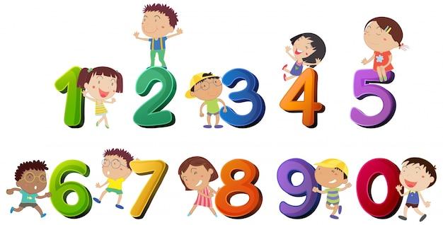 幸せな子供カウント数のイラスト