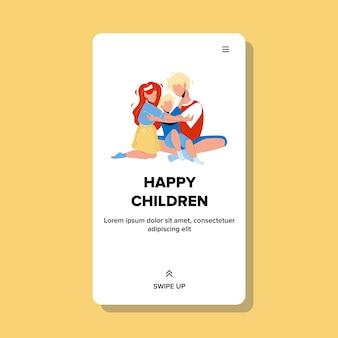 Happy children cute boys and girls hugging