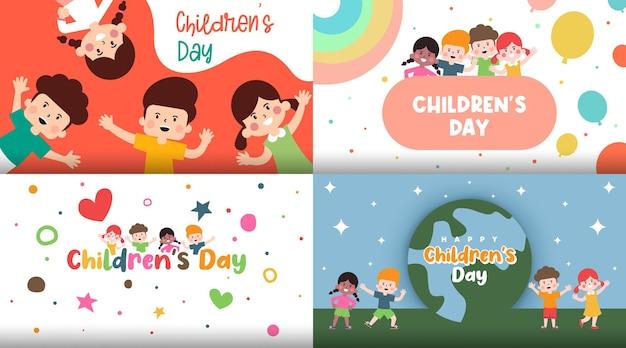 Happy children day background illustration