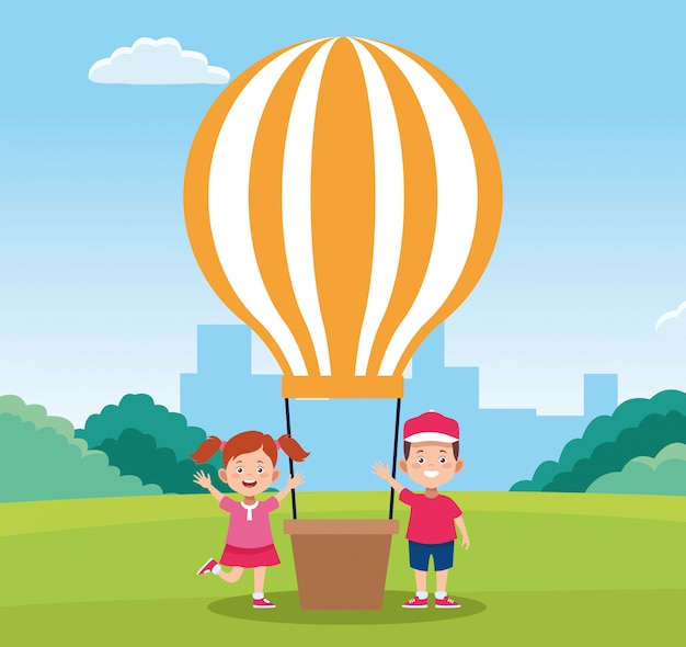 Happy children day design with happy boy and girl next to hot air balloon