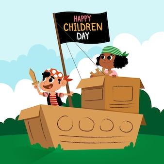 Счастливый детский день плоский дизайн