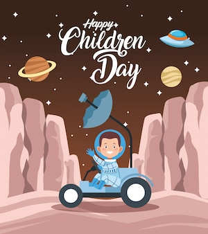 Happy children day greeting card with boy in the space