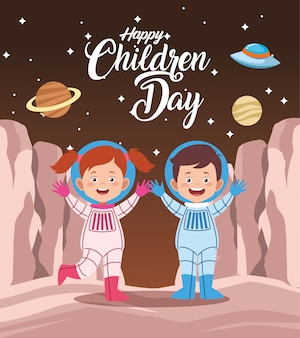 Happy children day greeting card with kids couple in the space