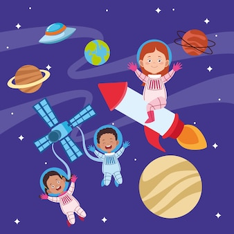 Happy children day greeting card with kids in the space