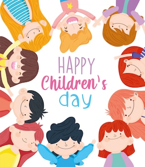 Happy children day, group cute little boys and girls vector illustration