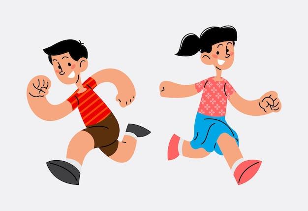 Happy children day kids running flat vector illustration