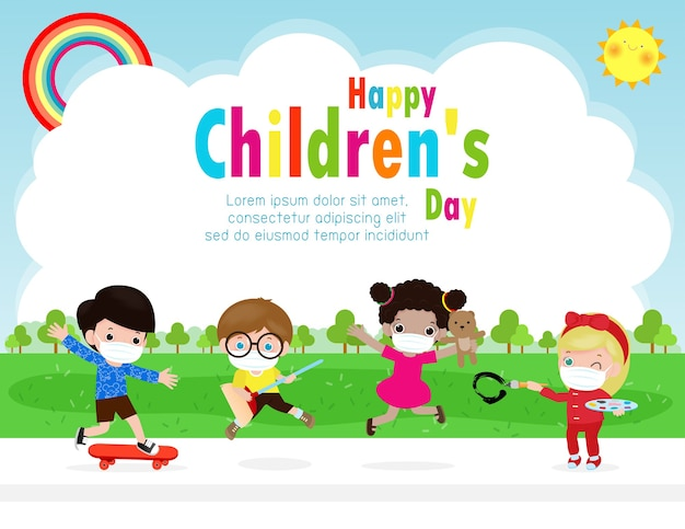 Happy children day for new normal lifestyle concept template for advertising brochure or poster flyer, group cute kids wearing a surgical protective medical mask for prevent coronavirus or covid-19