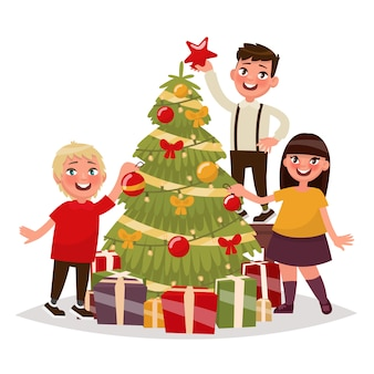 Happy children decorate the christmas tree.  illustration