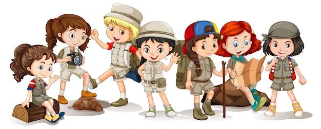 Happy children in different actions