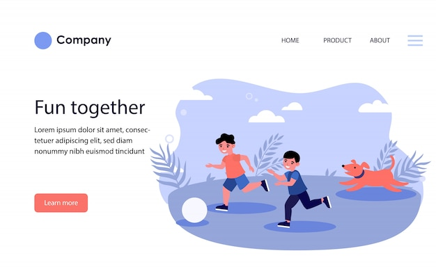 Happy children and dog playing ball outdoors. website template or landing page