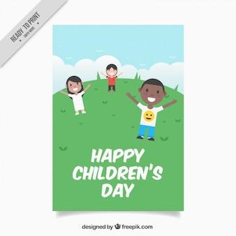 Happy children in the field card