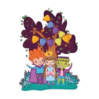 Happy children friends with halloween costumes