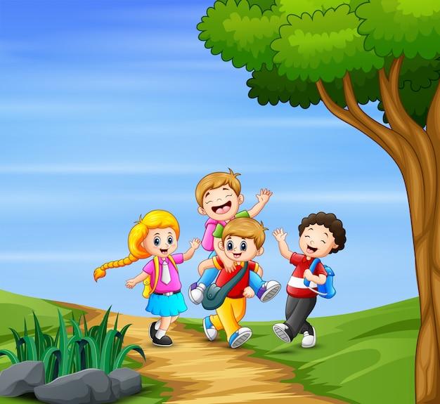 Happy children going to school together