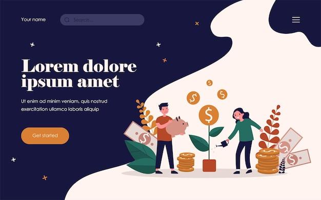Счастливые дети, растущее денежное дерево. монета, копилка, наличные плоские векторные иллюстрации. финансовое образование и инвестиционная концепция для баннера, веб-дизайна или целевой веб-страницы