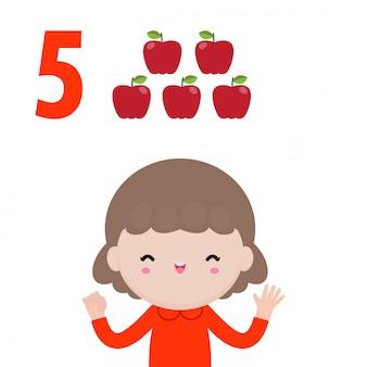 番号5を示す幸せな子供の手、指で番号を示すかわいい子供たち。小さな子供研究数学数カウントフルーツ教育概念、教材分離図
