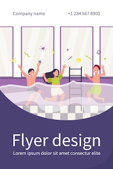 Happy children having fun in swimming pool. boys and girls in swimwear enjoying activities in family fitness club. flyer template