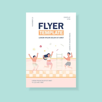 Happy children having fun in swimming pool flyer template